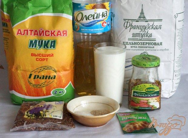 """Рецепт Хлеб """"Цельнозерновой"""" с горчицей и семенами льна"""
