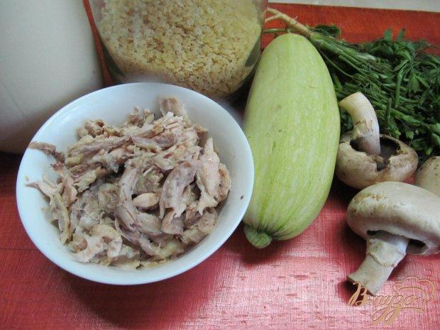 Рецепт Фаршированные кабачки отваренной курицей и грибами