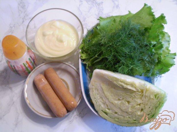 Рецепт Капустный салат с мясными сосисками