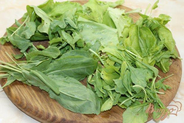 Рецепт Фруктовый салат с свежими листьями шпината и щавеля