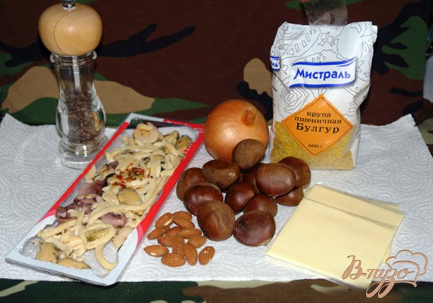 Рецепт Запеканка из булгура с каштанами и морепродуктами