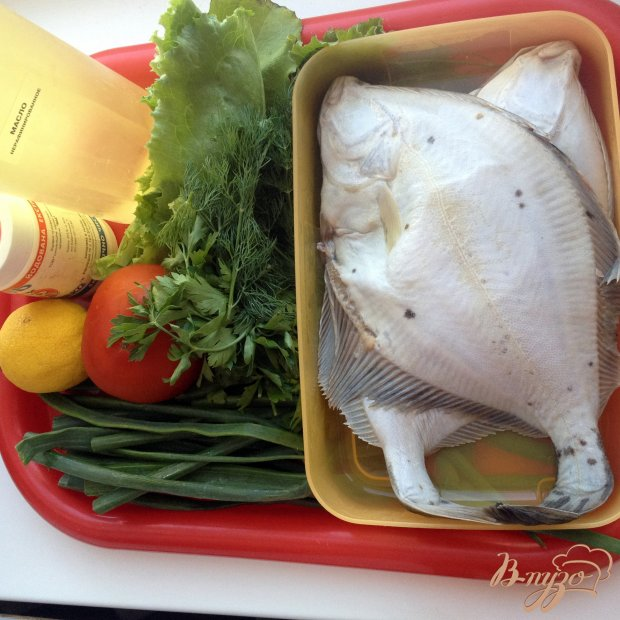 Рецепт Камбала, тушенная с зеленью и лимоном