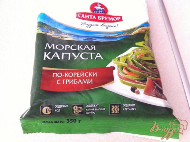 Рецепт Салат из морской капусты с крабовыми палочками