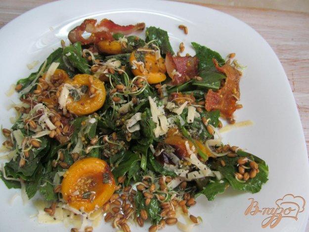 фото рецепта: Салат с абрикосом щавелем и ростками пшеницы