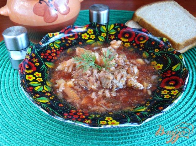 фото рецепта: Свекольник с куриными желудочками и рисом