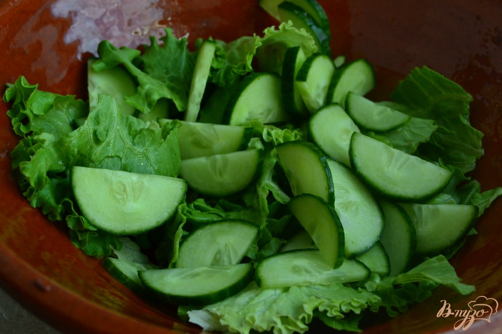 Рецепт Овощной салат с хлебом