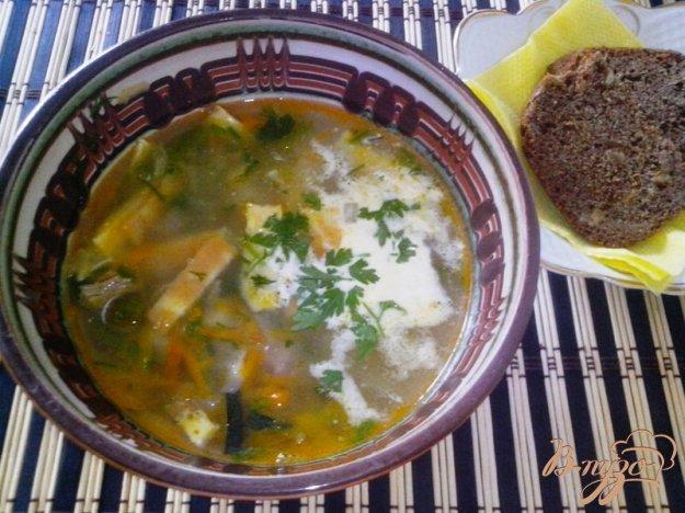 фото рецепта: Суп с говядиной, овощами  и яичными полосками