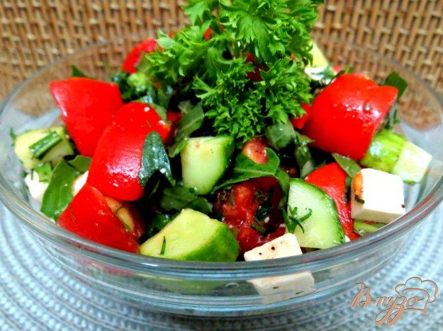 фото рецепта: Салат с брынзой, помидорамии рукколой