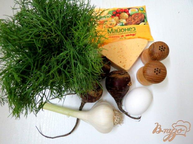 Рецепт Салат из свеклы, яиц и твёрдого сыра.
