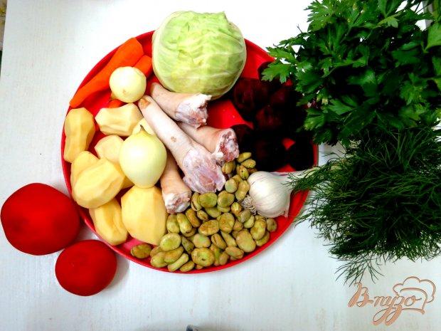 Рецепт Борщ со свиными хвостиками и бобами