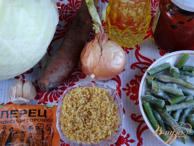 Рецепт Капуста тушеная с булгуром и стручковой фасолью