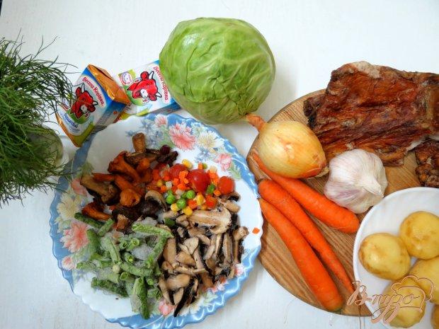 Рецепт Летний овощной суп с сырочками и грибами