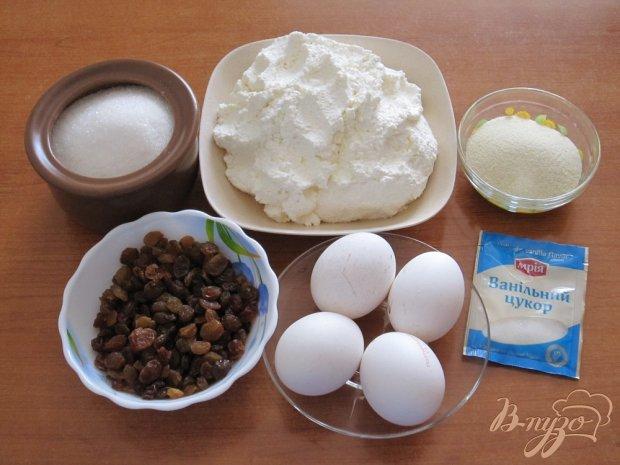 Рецепт Творожная запеканка с манкой и изюмом