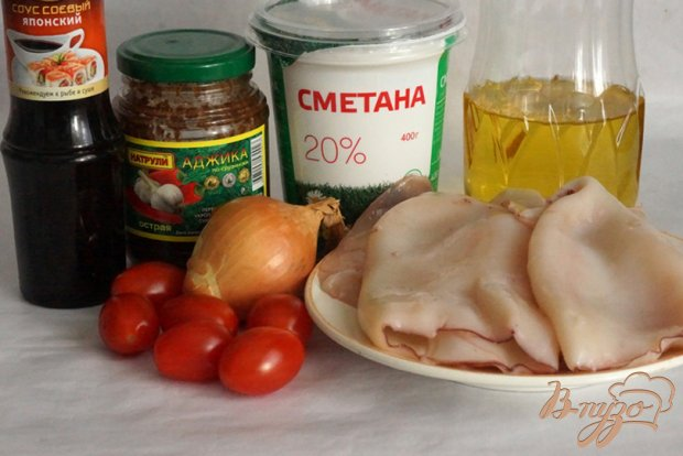 Рецепт Кальмары в остром соусе