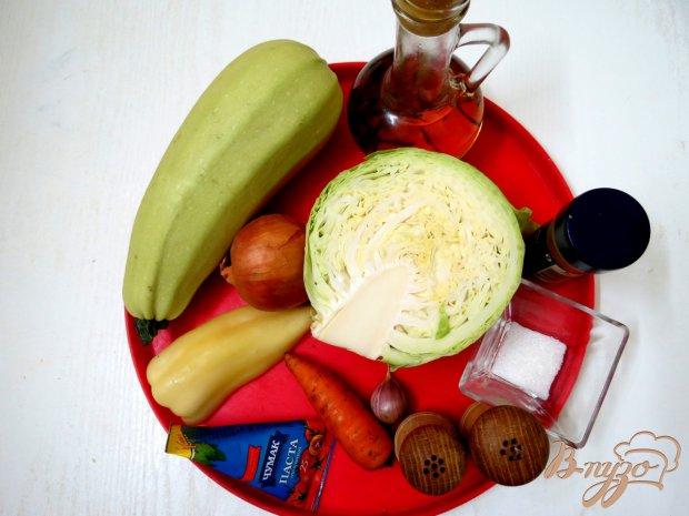 Рецепт Кабачкок тушёный с капустой и томатом