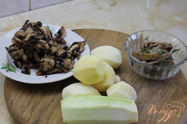Рецепт Жареная картошка с грибами и кабачками на сале по - домашнему