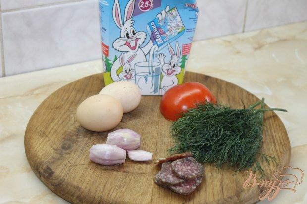 Рецепт Омлет с помидорами и сырокопченой колбасой