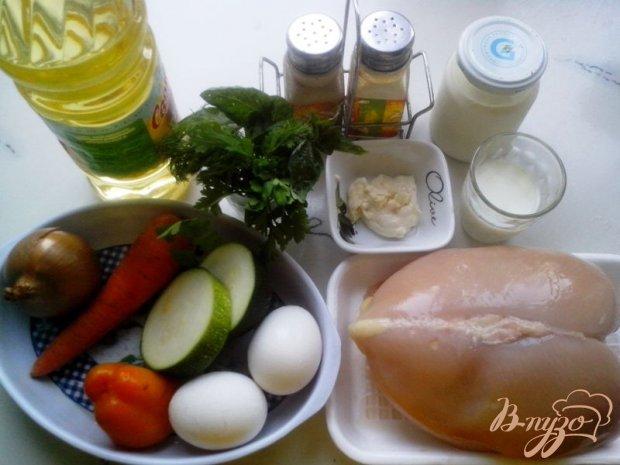 Рецепт Куриный рулет с омлетом и овощами