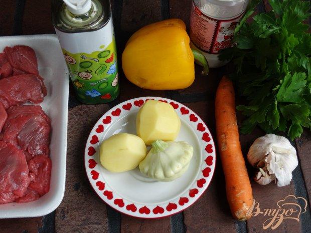 Рецепт Говядина тушенная с картофелем и патиссонами