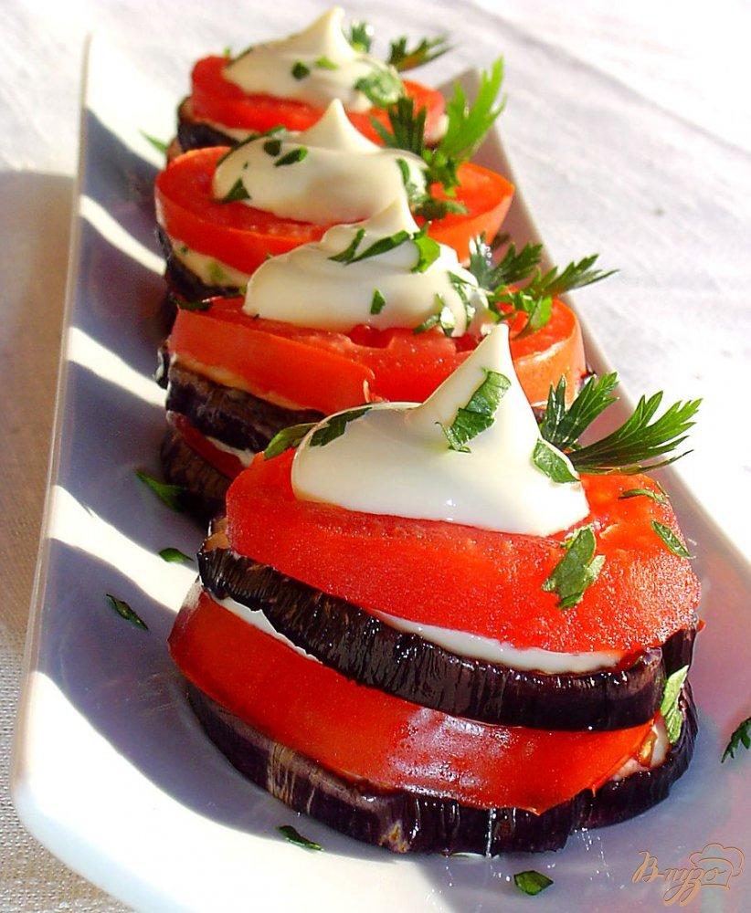 Закуска из баклажан,помидоров и чеснока