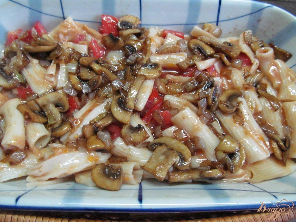 Запеканка из макарон с грибами