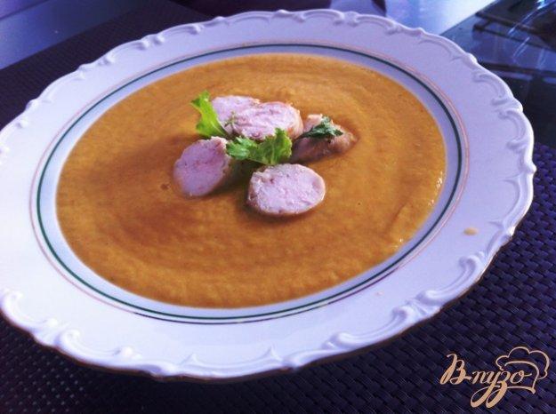 фото рецепта: Овощной суп-пюре с куриными колбасками