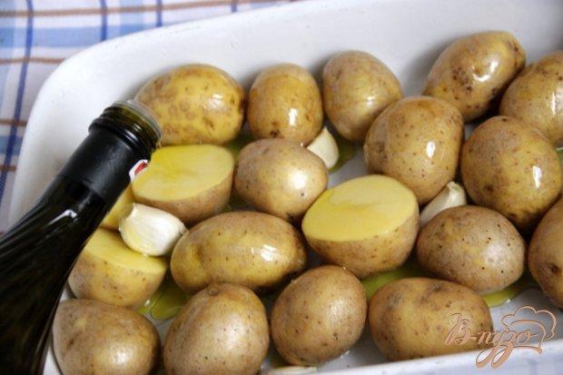 Рецепт Картофель, запеченный с фетой, зеленым горошком и зеленой фасолью