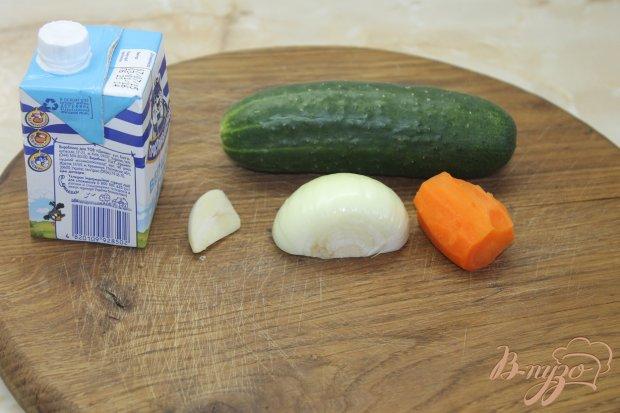 Рецепт Сливочный суп - пюре с огурцом и базиликом