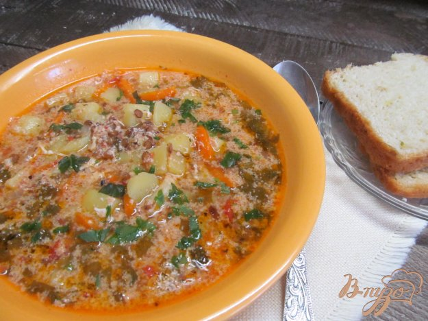 фото рецепта: Зеленый борщ с чечевицей