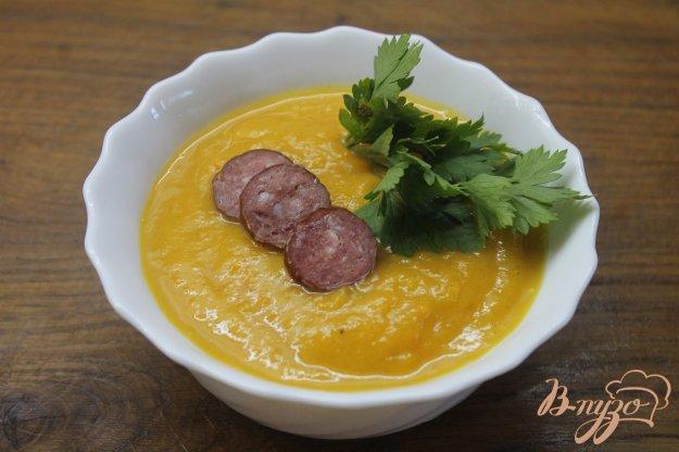 фото рецепта: Тыквенный суп - пюре с охотничьими колбасками