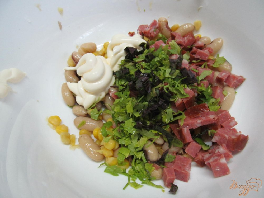 Салат с фасоли и сухариков рецепт с пошагово
