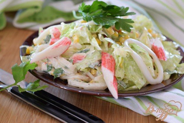 фото рецепта: Салат с крабовыми палочками и кальмарами