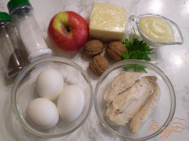 Рецепт Салат с курицей, яблоком и орехами