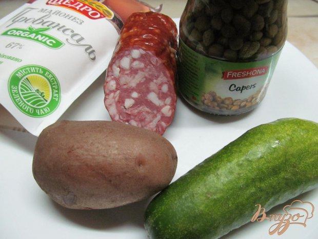 Рецепт Салат из картофеля огурца и каперсов