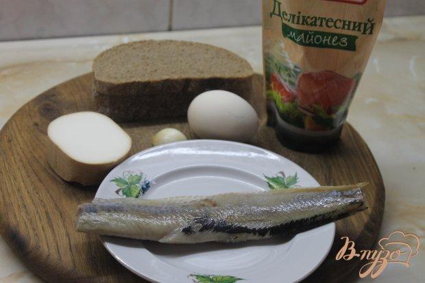 Рецепт Гренки с сельдью и острой закуской