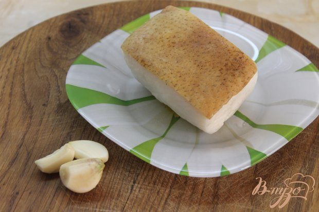 Рецепт Маринованное сало с чесноком и зеленью