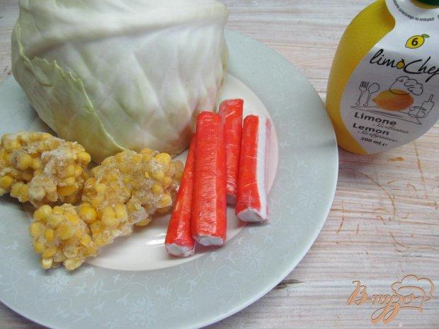 Рецепт Салат из крабовых палочек с капустой и кукурузой