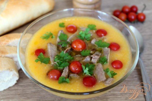 фото рецепта: Овощной суп пюре с мясом ягненка и помидорами черри