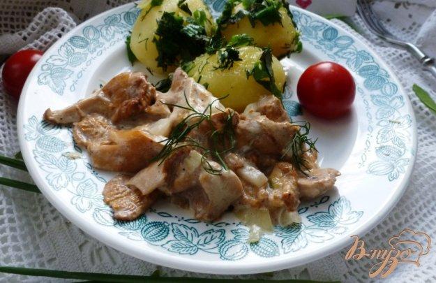 фото рецепта: Лисички в сливках с отварным картофелем