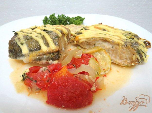 фото рецепта: Треска с овощами запеченная в горчичном соусе