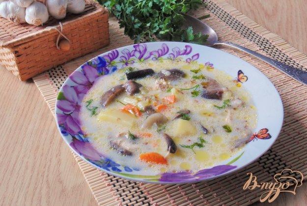 фото рецепта: Гречневый суп с опятами и сливками