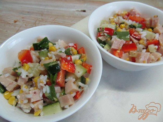 фото рецепта: Салат с рисом ветчиной и овощами