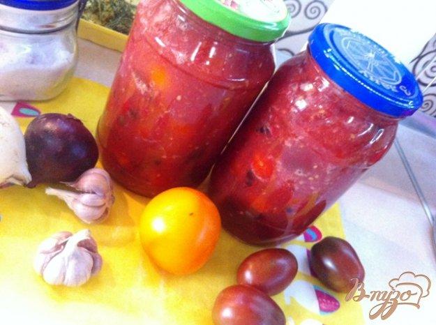 фото рецепта: Помидоры черри в томатной заливке с болгарским перцем