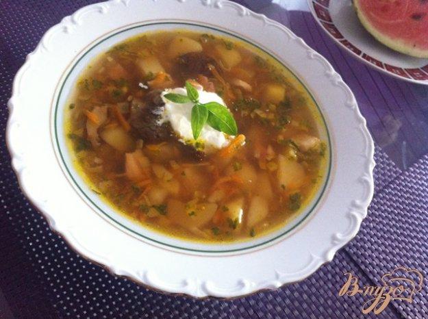 фото рецепта: Картофельный суп с белыми, сухими грибами