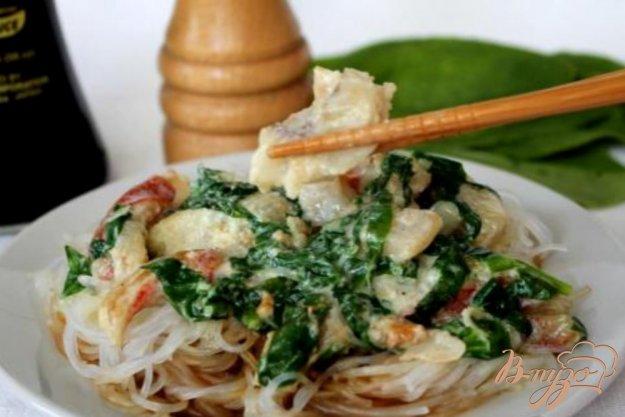 фото рецепта: Морской окунь с фунчезой и шпинатом.