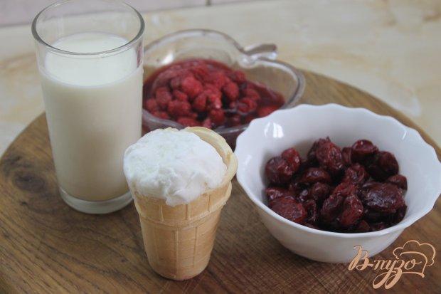 Рецепт Молочный коктейль с вишней и малиной