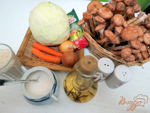 Рецепт Капуста тушёная с рисом и грибами