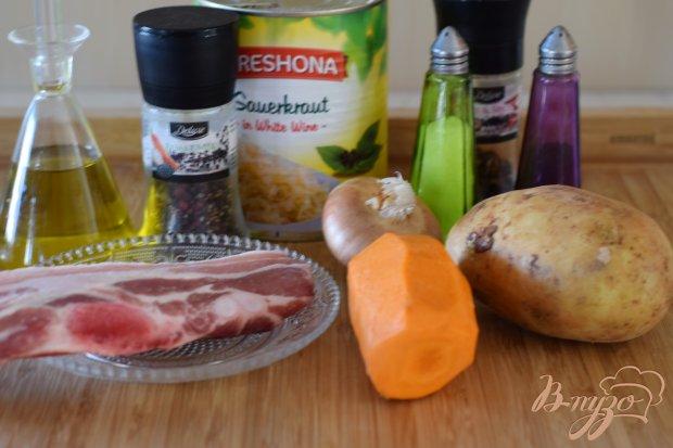 Рецепт Свинина тушеная с кислой капустой и картофелем