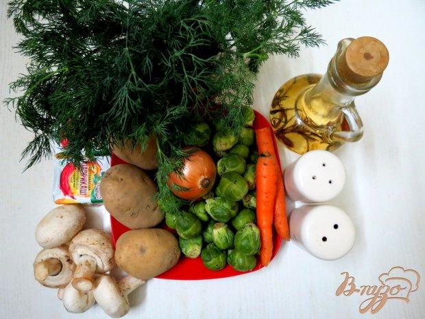 Рецепт Суп с брюссельской капустой, шампиньонами и сырочком