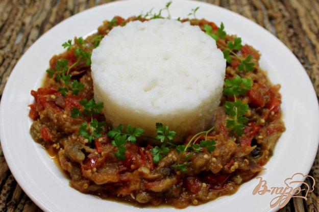 фото рецепта: Рис с помидорами и печеными баклажанами